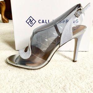 NWOT Silver Slingback Heel with Transparent Sides